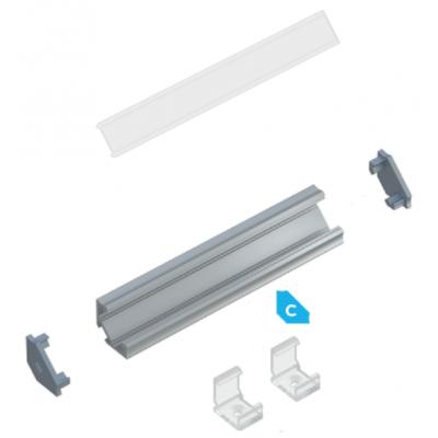 Kit profile Alu Type C d'Angle 1m avec couvercle + 2 bouchons de finition et 2 clips de fixation