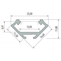 Kit profile Alu Type C encastré 1m avec couvercle + 2 bouchons de finition