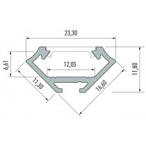 Kit profile Alu Type C encastré 2m avec couvercle + 2 bouchons de finition 10-0031-20