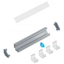 Kit profile Alu Type C encastré 2m avec couvercle + 2 bouchons de finition