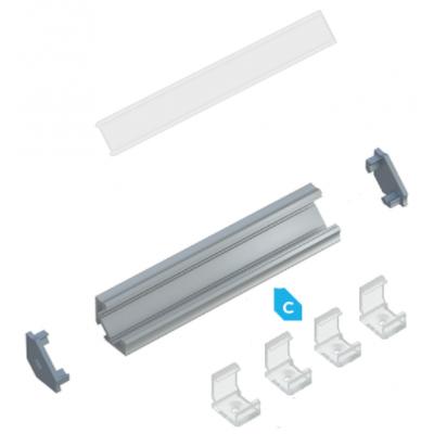 Kit profile Alu Type C d'angle 2m avec couvercle + 2 bouchons de finition et 4 clips de fixation