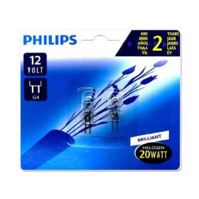 Lampe capsule Philips halogene G4 20w claire x2