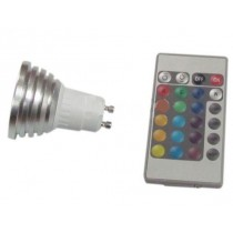 Lampe LED Gu10 3w multicoulor avec telecomande